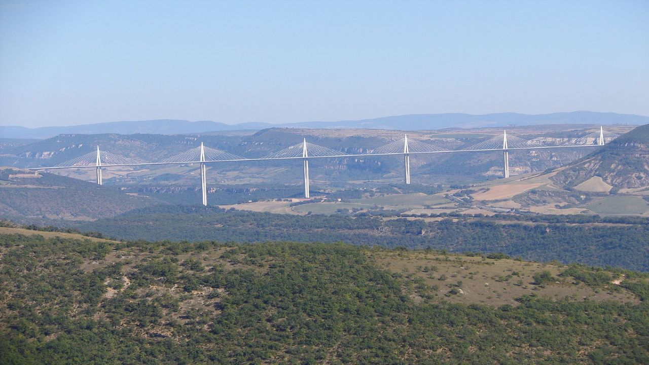 The Millau Viaduct was opened in December 2004. Credit: Xic667 / Wikipedia.