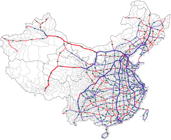 Map of the National Trunk Highway System (NTHS) expressway network in the People's Republic of China. Image courtesy of ASDFGH.