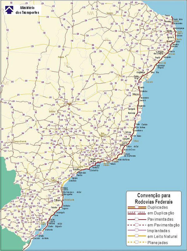 A map showing the BR-101 Highway in Brazil. It is a part of the Pan-American Highway. Image courtesy of Dada.