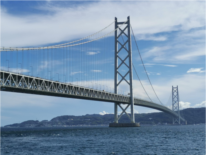 The Akashi Kaikyo bridge has two pylons, each with a height of 282.8m. Credit: Shutterstock.