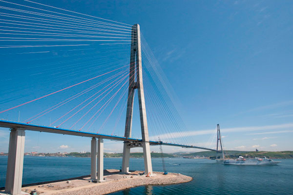 Russky Island Bridge is the longest cable stayed bridge in the world.