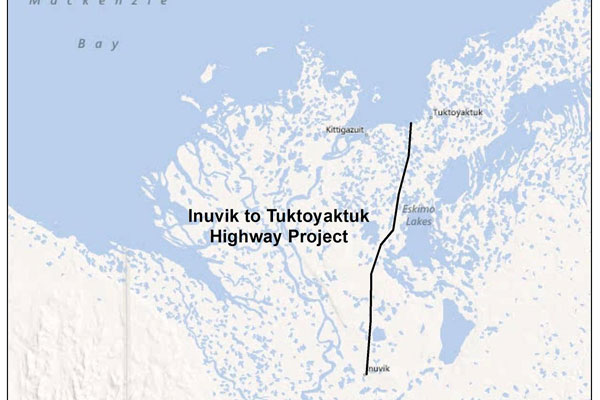 The coast to coast road network in Canada will be finished, upon construction of the Inuvik-Tuktoyaktuk highway.