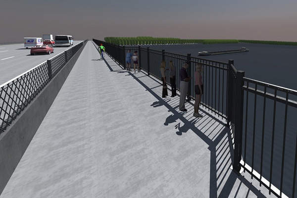Scenic overlook on the new eastbound bridge from the bike / pedestrian trail. Image courtesy of Missouri Department of Transportation.
