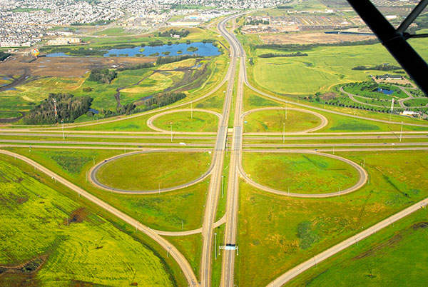 Aerial shot of the Whitemud Drive Interchange. A total of nine interchanges were built under the North East Anthony Henday Drive project.