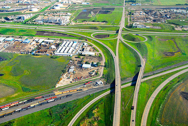 Aerial picture of Yellowhead Trail Interchange / Canadian Pacific Railroad.