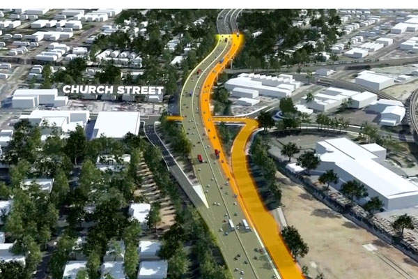 WestConnex supporting works at Parramatta corridor include a new access from Church Street. Image courtesy of Roads and Maritime Services.