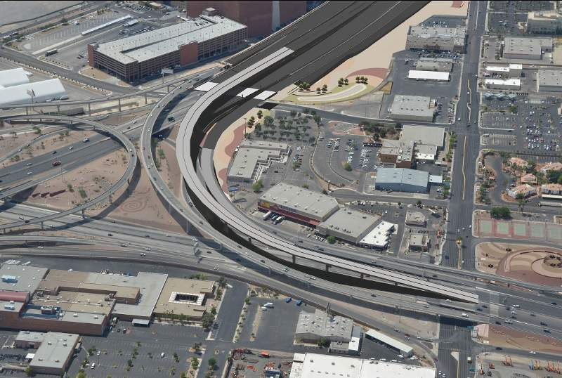 Project NEON will upgrade the 3.7-mile (5.95km) section of the I-15 between Sahara Avenue and the Spaghetti Bowl interchange. Image courtesy of Atkins.