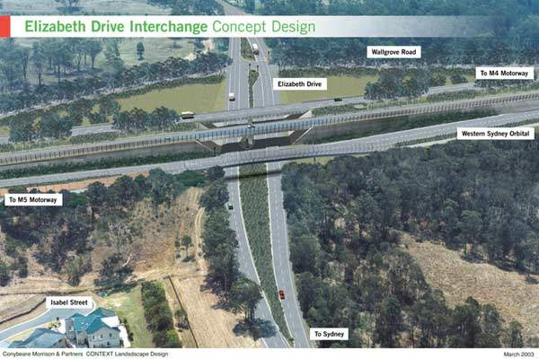 The concept design of the Elizabeth Drive interchange. When completed, the Westlink M7 will have 18 interchanges.