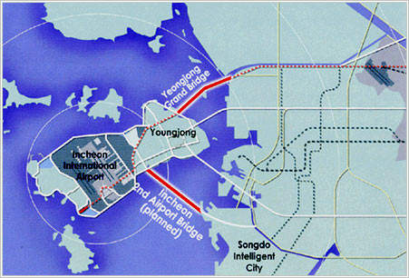 The Incheon Bridge will be a 12.3km (7.4m) toll bridge linking the Seoul–Incheon expressway with the Seohaean expressway.