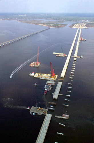 The I-10 Bridge project over Escambia Bay near Pensacola has replaced the temporary steel bridges with two new, three-lane bridges at a cost of $243m.