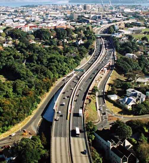 An overview of the Southern Motorway (SH1) looking north from the Gillies Avenue on and off-ramps.