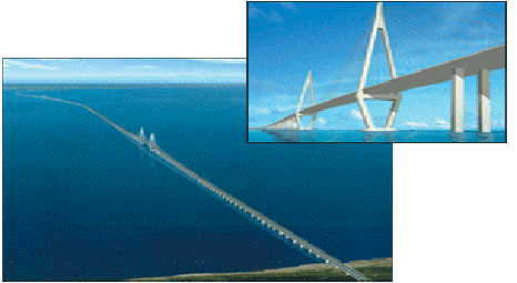 The 36km-long Hangzhou Bay Bridge is a six-lane highway bridge and the longest ocean-crossing bridge in the world.