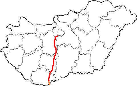 The route taken by the M6 Motorway through Hungary.