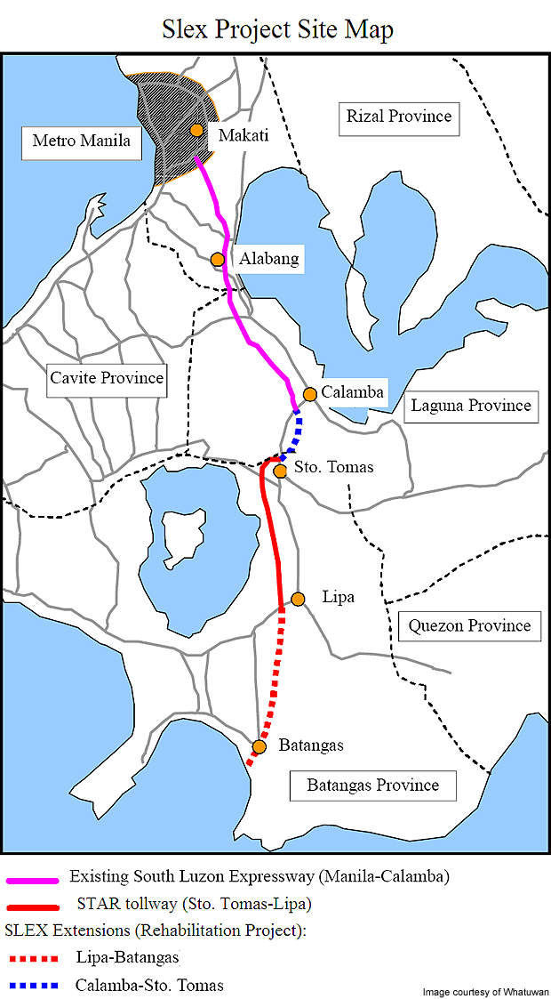 Map showing the existing South Luzon Expressway and the extended / rehabilitated routes.