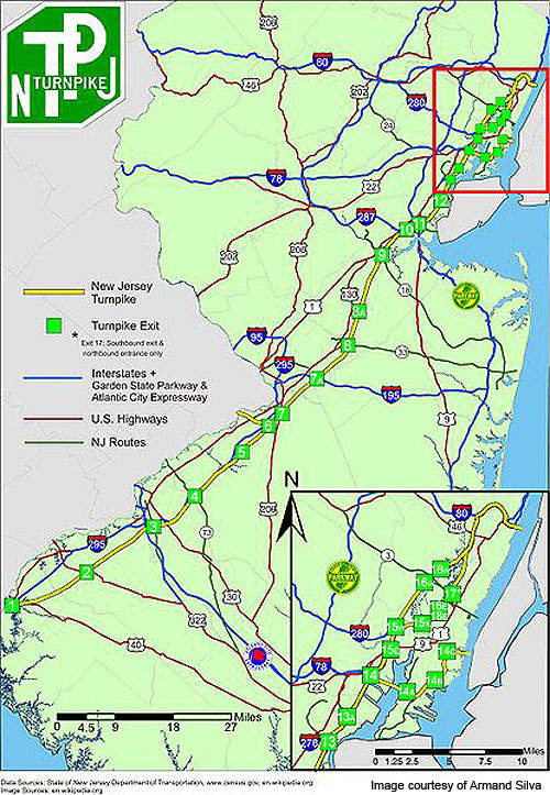 The New Jersey Turnpike is one of the key toll roads in New Jersey.