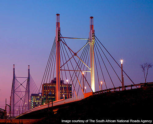 Nelson Mandela Bridge is the largest cable-stayed bridge in South Africa.