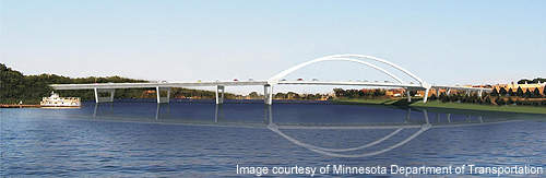 The Highway 61 Hastings Bridge is a new tied-arch crossing for the Mississippi River in Minnesota, US.