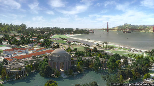 An artist's impression of the view of the new Presidio Parkway from the Palace of Fine Arts, San Francisco.