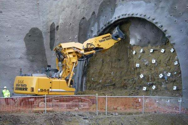 Tunnel excavation got underway in February 2008.