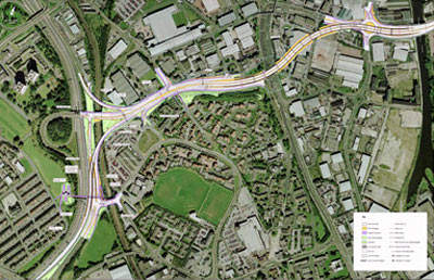 The extent of the route for Stage 7 of the Leeds Inner Ring Road.
