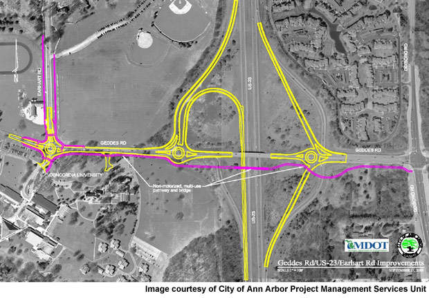 The construction of the Geddes Road / US-23 interchange, and Geddes Road and Earhart Road intersection project will be executed in stages to ensure safe vehicular and pedestrian traffic movement.