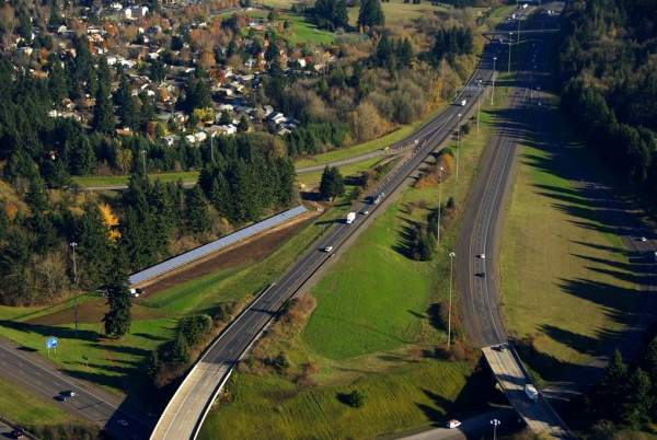 Aerial view of the ODOT Solar Highway Demonstration Project. Image courtesy of the Oregon Department of Transportation.