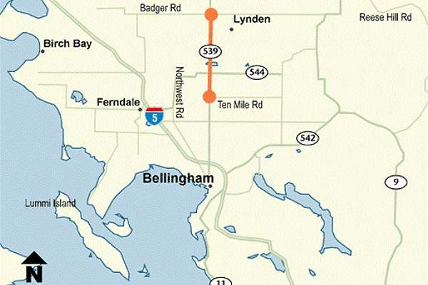 The SR 539 runs from Bellingham to the Canadian border.