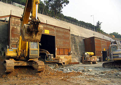 Blast doors to muffle the sounds of blasting during the Nam Wan Tunnel construction.
