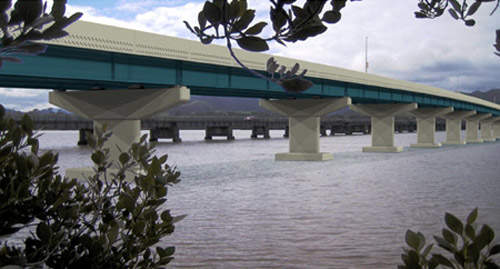The bridge uses a similar design to this reinforced concrete highway bridge.