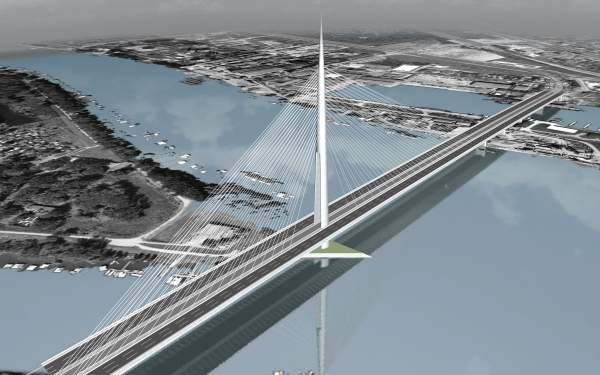 Sava River Bridge is a single pylon cable-stayed bridge currently under construction in Belgrade. Image courtesy of Louis Berger Group.