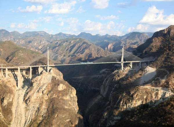 Baluarte Bridge, built across the deep ravine in the Sierra Madre Occidental mountains in Mexico, is the highest cable-stayed bridge in the world. Image courtesy of the Mexican Government.