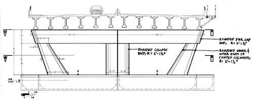 Plan profile of the new bridge showing the structural supports and deck.