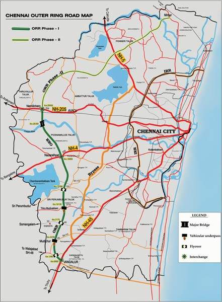 Map of the Chennai Outer Ring Road project.