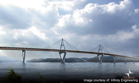 Deh Cho Bridge is a cable-stayed bridge constructed on the NW3 Highway near Fort Province in Canada. Image courtesy of Infinity Engineering.