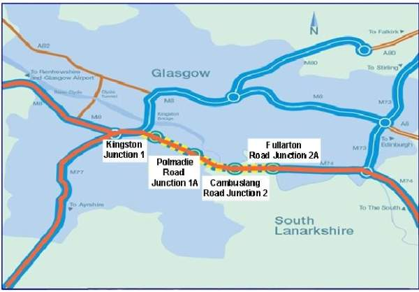 The M74 motorway extension is an 8km motorway link that connects the M74 at Fullarton Road to the M8 motorway, west of Kingston Bridge. Image courtesy of Transport Scotland.