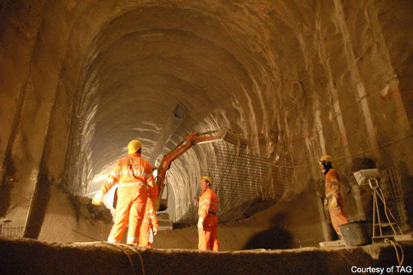 The Grouft Tunnel will be sealed with a membrane and finished with shotcrete.