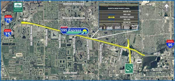 The I-595 revamp is being carried out by Spanish construction conglomerate ACS Infrastructure Development in cooperation with local contractors, equipment manufacturers and workers.