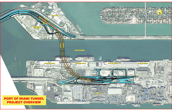 Port of Miami Tunnel project included the construction of a tunnel beneath the Government Cut between Watson Island and port of Miami, Florida.