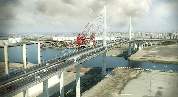 The new Gerald Desmond Bridge is the first cable styled vehicular bridge being built in California. Image courtesy of the Port of Long Beach.
