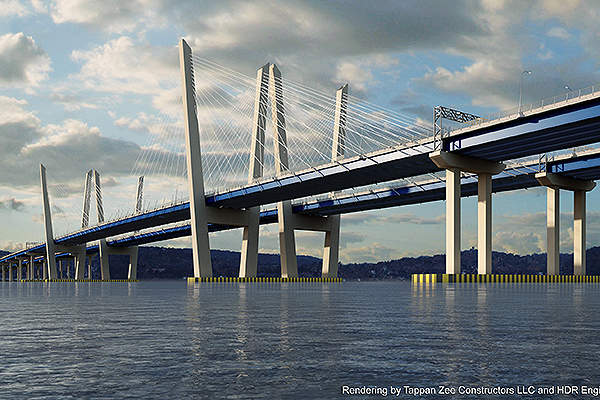 The Governor Mario M Cuomo Bridge is a new cable-stayed twin span bridge constructed to replace the Tappan Zee Bridge.