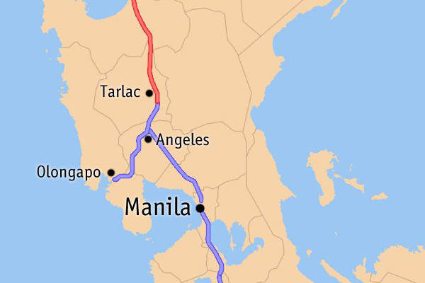 Map of expressways in Luzon showing the Tarlac-Pangasinan-La Union Expressway in red. Image courtesy of Mike Gonzalez (TheCoffee).