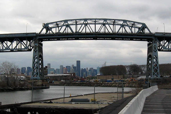 Kosciuszko Bridge over Newtown Creek in New York City is being replaced with a new bridge.