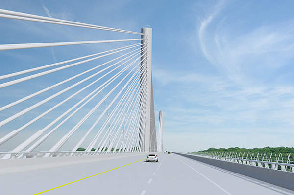 The Downtown Bridge will be a three-tower cable-suspended bridge.