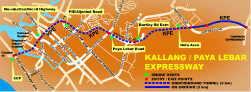 The route of the new 12km Kallang / Paya Lebar expressway.