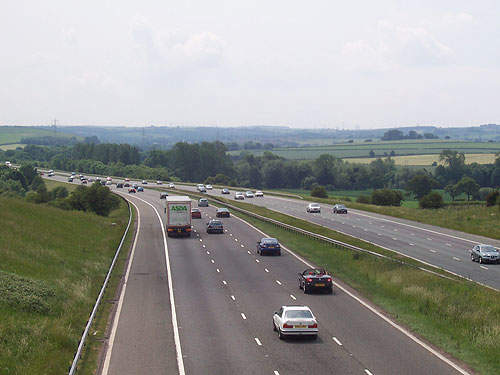 The M1 motorway heading south towards junction 37.
