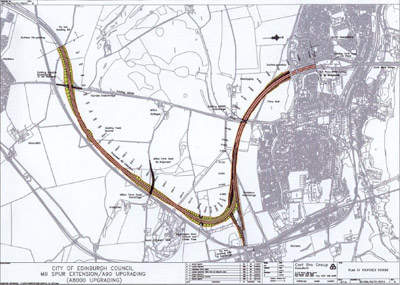 The plan of the route for the new M9 spur.