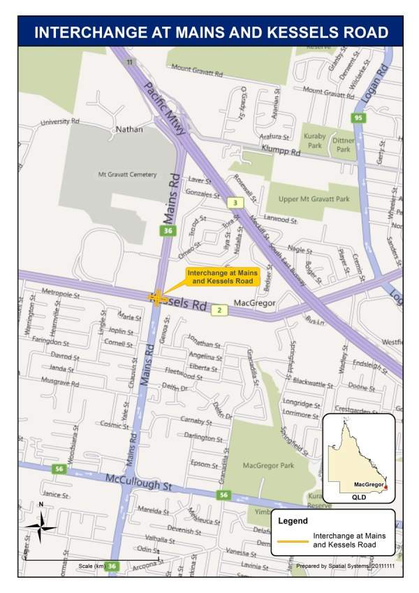 The Mains and Kessels Roads intersection is part of the 11.5km Brisbane Urban Corridor located in Macgregor in Brisbane, Australia. Courtesy of the Minister for Infrastructure and Transport.