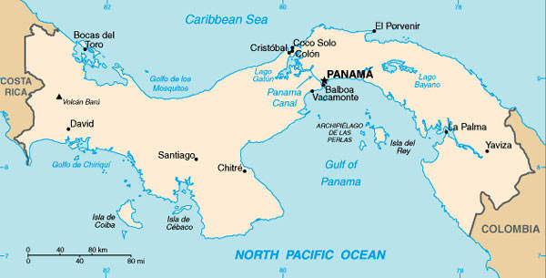 A map of Panama showing the position of Panama City.