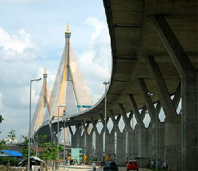 Thailand's Chao Phraya Mega Bridge was completed in October 2006.