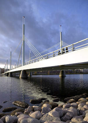 The Munksjö bridge was constructed between 2005 and 2006, and opened to traffic in June 2006.